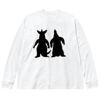 なかよしかいじゅう Big silhouette long sleeve T-shirts