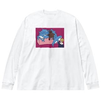 奇抜なサメ Big silhouette long sleeve T-shirts