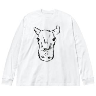 牛ちゃん Big silhouette long sleeve T-shirts