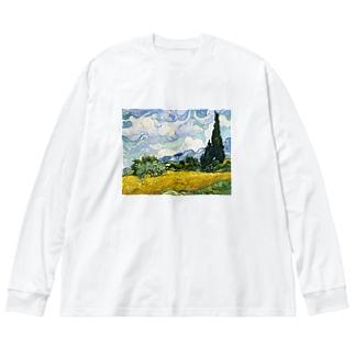 ゴッホ_糸杉のある麦畑 Big silhouette long sleeve T-shirts