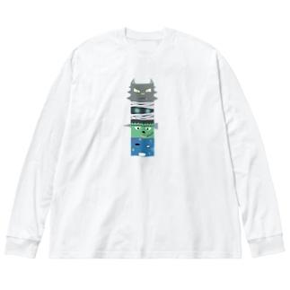 西の妖怪トーテムポール Big silhouette long sleeve T-shirts