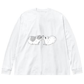 モルモット001 Big silhouette long sleeve T-shirts