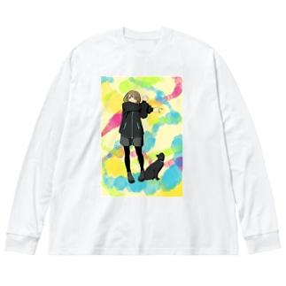 準備運動よしっ! Big silhouette long sleeve T-shirts