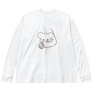 ラッキーアイテム「しろくま」 Big silhouette long sleeve T-shirts