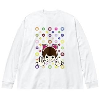 MIMMIのモノグラム (ミンクロの(ミンクロのT-シャツ)) Big silhouette long sleeve T-shirts
