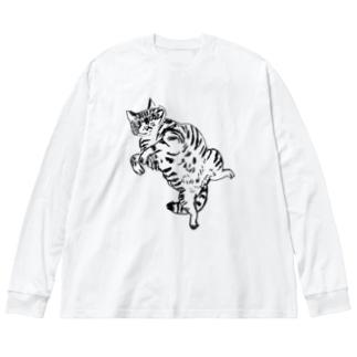 おうちでゴロゴロ Big silhouette long sleeve T-shirts
