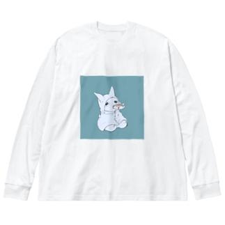 ケチャップおちるよ Big silhouette long sleeve T-shirts