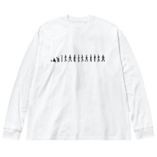 歩く人 Big silhouette long sleeve T-shirts