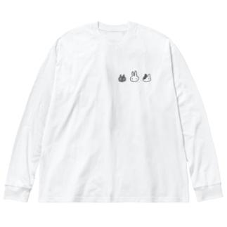 いつものさんにん Big silhouette long sleeve T-shirts