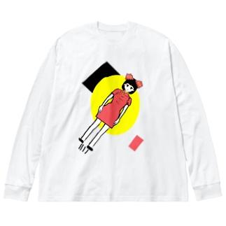 蛸突破飛行少女 Big silhouette long sleeve T-shirts