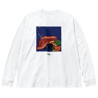 足元の宇宙 Big silhouette long sleeve T-shirts