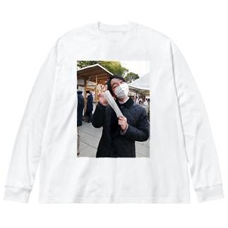 いわきのおみくじ Big silhouette long sleeve T-shirts