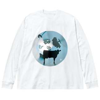 fm_41_Cow Big silhouette long sleeve T-shirts