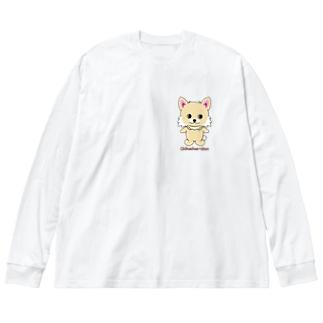 チワワちゃん Big silhouette long sleeve T-shirts