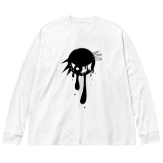 しろまろ/shiromaro.artのパンクな目玉 Big silhouette long sleeve T-shirts