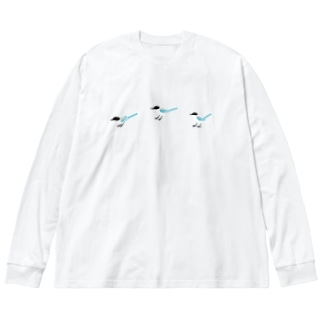 オナガがぴょん Big silhouette long sleeve T-shirts