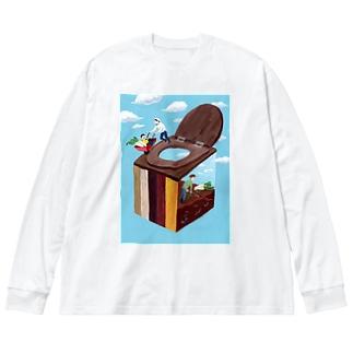 コンポストトイレ Big silhouette long sleeve T-shirts