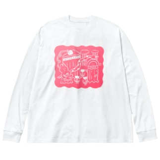 昨日見た夢(グラデ〜ション) Big silhouette long sleeve T-shirts