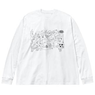 アクティブモンスター Big silhouette long sleeve T-shirts