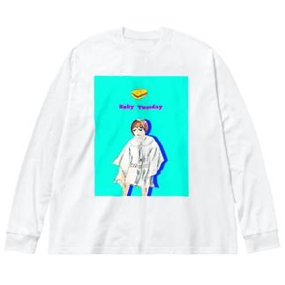 パストラミサンドが好きなのよ Big silhouette long sleeve T-shirts