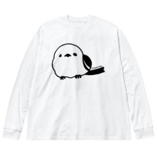 シマエナガ Big silhouette long sleeve T-shirts
