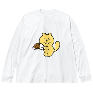 カレーイタチカラー Big silhouette long sleeve T-shirts