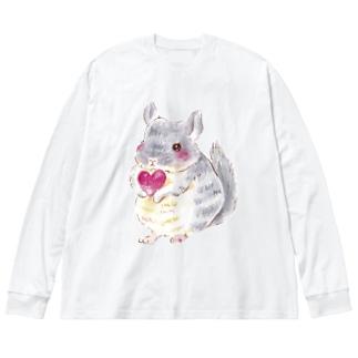 きゅんきゅんチンチラ Big silhouette long sleeve T-shirts