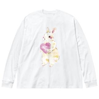 きゅんきゅんうさぎ Big silhouette long sleeve T-shirts