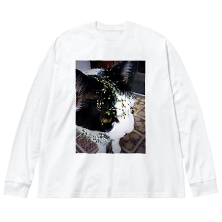 うちの猫〜泥棒猫フェイス〜 Big silhouette long sleeve T-shirts