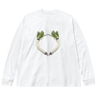 ドット絵曲がりネギ Big silhouette long sleeve T-shirts