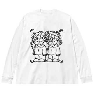 寝癖(Black ver.) Big silhouette long sleeve T-shirts