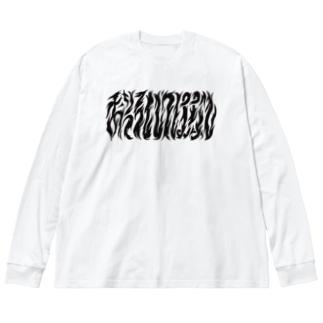 NZM110すずりやさんのおそろしいはなし Big silhouette long sleeve T-shirts