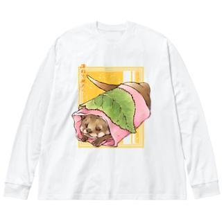 あんこ多めの関東風桜餅 Big silhouette long sleeve T-shirts