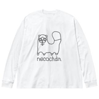 neco chan 黒 Big silhouette long sleeve T-shirts