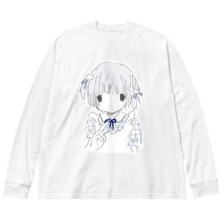 ビスケットの雨 Big silhouette long sleeve T-shirts