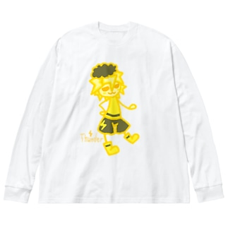 ウェザーず*カミナリくん Big silhouette long sleeve T-shirts