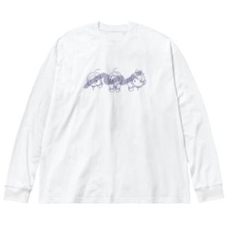 見るし喋るし聴く猿 Big silhouette long sleeve T-shirts