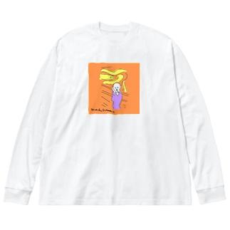 munch,scream!!! Big silhouette long sleeve T-shirts