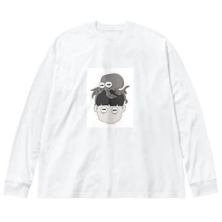 たこぼうず Big silhouette long sleeve T-shirts