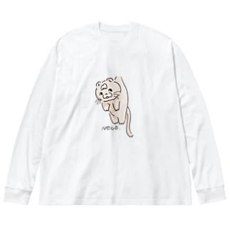 つられ猫トム Big silhouette long sleeve T-shirts