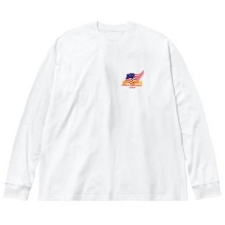 Cool星条旗ビッグシルエットロングスリーブTシャツ 白 Big silhouette long sleeve T-shirts