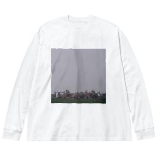 Fog and deer II Big silhouette long sleeve T-shirts