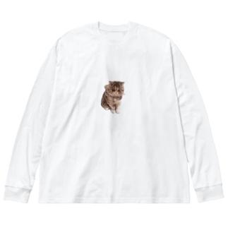 座りえびす Big silhouette long sleeve T-shirts