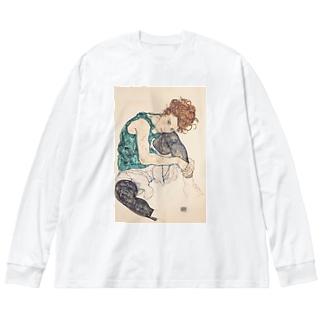 エゴン シーレ(Egon Schiele) / Seated woman with bent knee 1917 Big silhouette long sleeve T-shirts