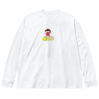 流れ星と女の子 Big silhouette long sleeve T-shirts