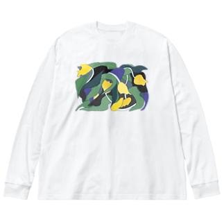 ぐわっとチューリップ Big silhouette long sleeve T-shirts