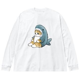 サメにゃん Big silhouette long sleeve T-shirts