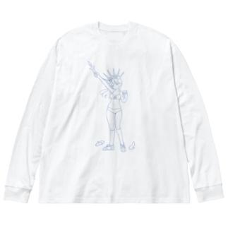 Feminism Enlightening the World Blue Line Big silhouette long sleeve T-shirts