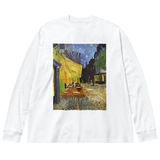 ゴッホ / 夜のカフェテラス (Terrasse du café le soir) 1888 with Selbstbildnis 1887 Big silhouette long sleeve T-shirts