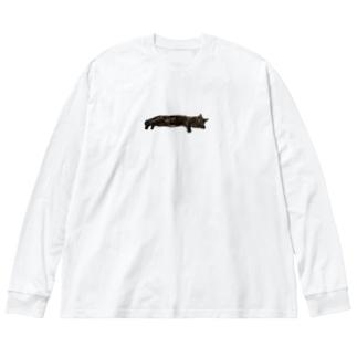 くつろぎ黒猫ちゃん Big silhouette long sleeve T-shirts